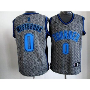 NBA Thunder 0 Russell Westbrook Grey Static Men Jersey