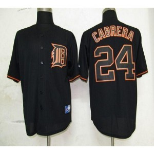 MLB Tigers 24 Miguel Cabrera Black Fashion Men Jersey