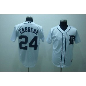 MLB Tigers 24 Miguel Cabrera White Men Jersey