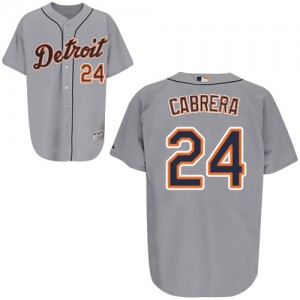MLB Tigers 24 Miguel Cabrera Grey Men Jersey