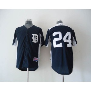 MLB Tigers 24 Miguel Cabrera Navy Blue 2011 Home Cool Base BP Men Jersey
