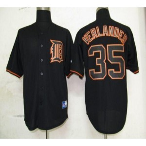 MLB Tigers 35 Justin Verlander Black Fashion Men Jersey