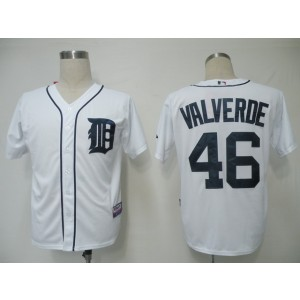 MLB Tigers 46 Jose Valverde White Cool Base Men Jersey