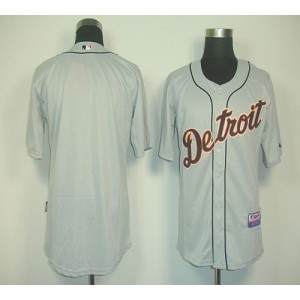 MLB Tigers Blank Grey Cool Base Men Jersey