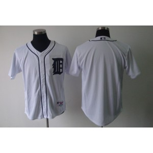 MLB Tigers Blank White Cool Base Men Jersey