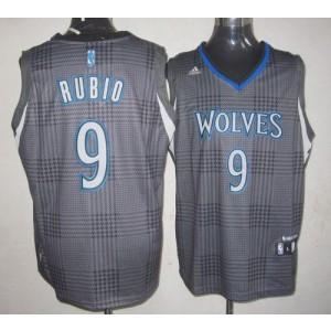 NBA Timberwolves 9 Ricky Rubio Black Rhythm Men Jersey