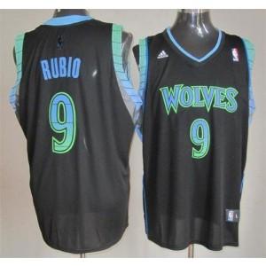 NBA Timberwolves 9 Ricky Rubio Black Vibe Men Jersey