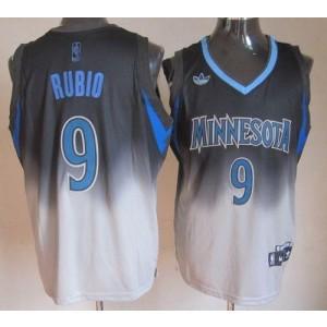 NBA Timberwolves 9 Ricky Rubio Black Grey Fadeaway Men Jersey