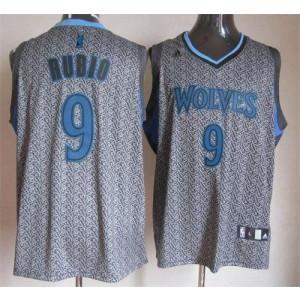 NBA Timberwolves 9 Ricky Rubio Grey Static Men Jersey