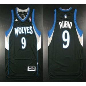 NBA Timberwolves 9 Ricky Rubio Black Revolution 30 Men Jersey