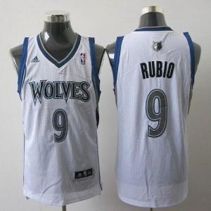 NBA Timberwolves 9 Ricky Rubio White Revolution 30 Men Jersey