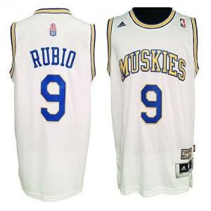 NBA Timberwolves 9 Ricky Rubio White ABA Hardwood Classic Men Jersey