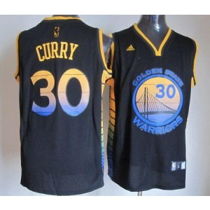 NBA Warriors 30 Stephen Curry Black Vibe Men Jersey