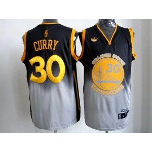 NBA Warriors 30 Stephen Curry Black Grey Fadeaway Men Jersey
