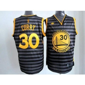 NBA Warriors 30 Stephen Curry Black Grey Groove Men Jersey