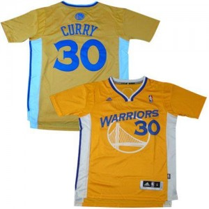 NBA Warriors 30 Stephen Curry Gold Alternate Men Jersey