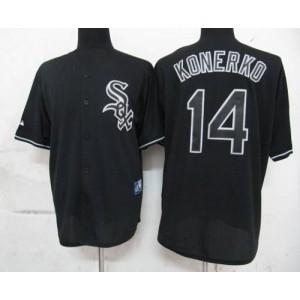 MLB White Sox 14 Paul Konerko Black Fashion Men Jersey