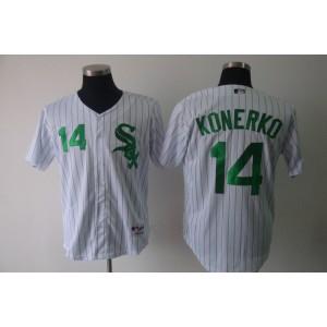MLB White Sox 14 Paul Konerko White Green Strip Men Jersey