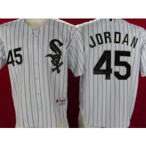 MLB White Sox 45 Michael Jordan White Black Strip Men Jersey
