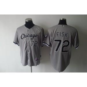 MLB White Sox 72 Carlton Fisk Grey Men Jersey