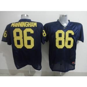 NCAA Michigan Wolverines 86 Mario Manningham Blue Men Jersey